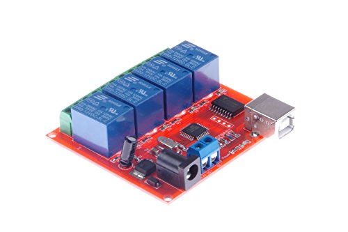 KNACRO 4-Channel 12V USB Control Switch Relay Module No Driver Required Plug and Play PC Smart Controller