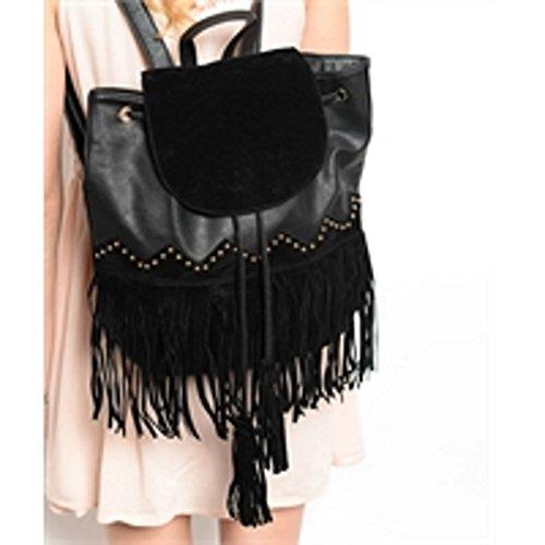 Bohemian Black Fringe Shoulder Bag Backpack