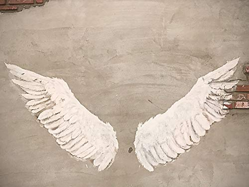 Angels Stretched Canvas - Home Comforts Canvas Print Wall Photo Wallpaper Angel Sculpture Wing Cement Vivid Imagery Stretched Canvas 32 x 24