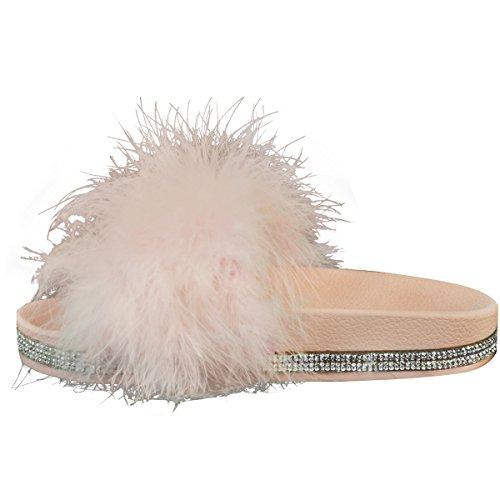 Fashion Thirsty heelberry Mujer Mullido Deslizables Sandalias Diamante Verano Peludo Desliza Zapatos Sin Talón Talla UK rosa pastel Sintético Marabú