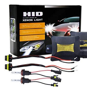 Uniqus 55W H8 H9 H11 6000K HID Xenon Light Conversion Kit with Slim Ballast High Intensity Discharge Lamp, White
