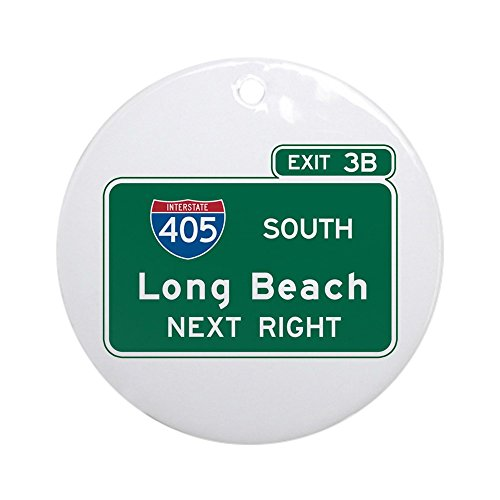 CafePress - Long Beach, CA Highway Sign Ornament (Round) - Round Holiday Christmas Ornament
