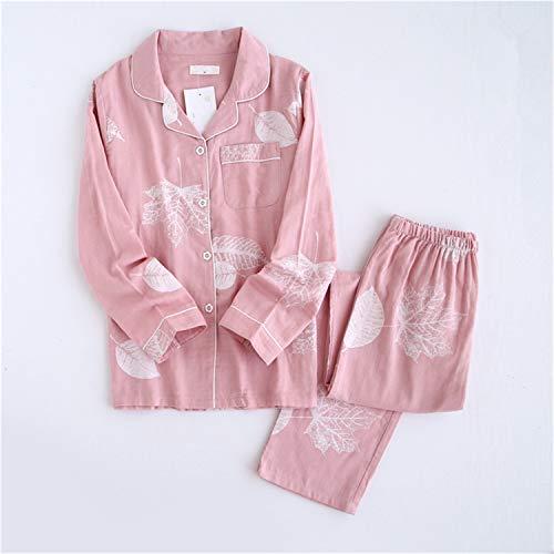 Korea Fresh Maple Leaf Pajama Sets Women Gauze Cotton Long Sleeve Casual Sleepwear Women Pyjama TZ Leaves Pink M