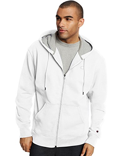 Champion Men's Powerblend Fleece Full-Zip Hoodie, White, 3XL