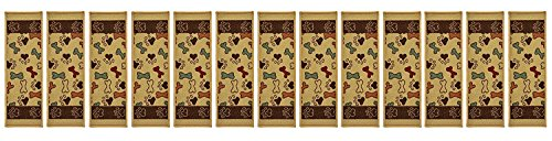Stair Treads Skid Slip Resistant Backing Indoor Carpet Stair Treads Pet Paw and Bone Design 8 ½ inch x 26 ¼ inch (Set of 13, Beige Multi) by RugStylesOnline