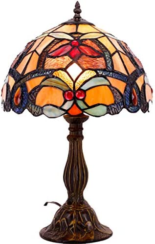 Tiffany Lamp Orange Stained Glass Crystal Bead Flower Liaison Style Table Reading Light W12H18 Inch S617 WERFACTORY Lamps Parent Friend Lover Kid Living Room Bedroom Desk Bedside Antique Craft Gift