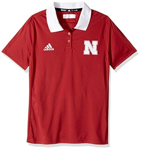 adidas NCAA Nebraska Cornhuskers Adult Women NCAA Sideline Women's Polo, Large, Power Red (Adidas Shirt Polo Sideline)