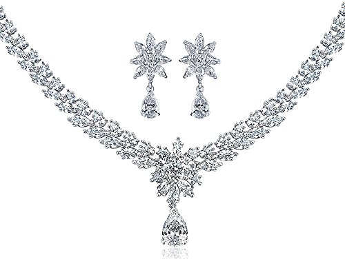 Bling Jewelry Bridal Prom Flower Flora Collar Necklace Earing Set for Women V Shaped Cubic Zirconia CZ Silver Tone Rhodium Plate Brass
