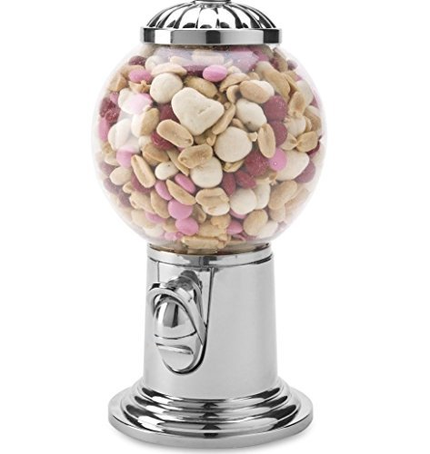 Elegant Candy Dispenser, Gumball Machine with Silver Top. Holds Snack, Candy, Nuts, and Gumball's. (Small Snack Machine compare prices)
