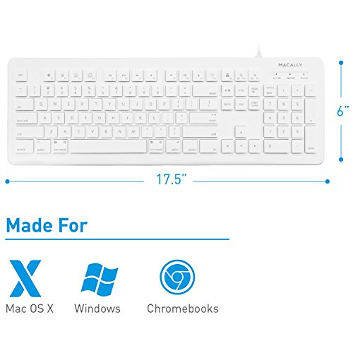 macally full size usb wired computer keyboard for mac and windows pc with 15 apple shortcut keys. Black Bedroom Furniture Sets. Home Design Ideas