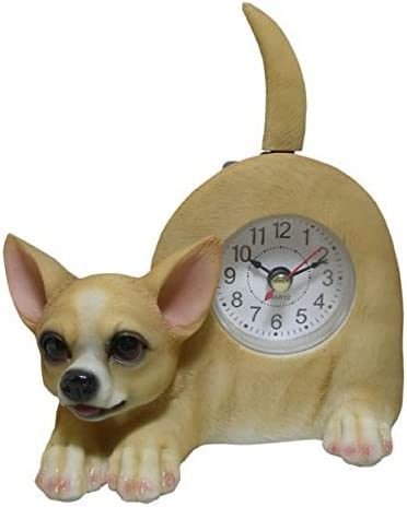 AIE Chihuahua Desk Clock with Wagging Tail GF96 6 Wx5 H Chihuahua
