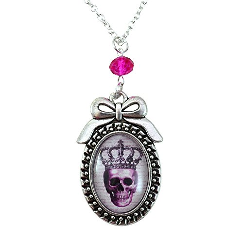 Pink Skull - Bow Cameo Necklace - Silver and Fuchsia - Glass Tile Necklace