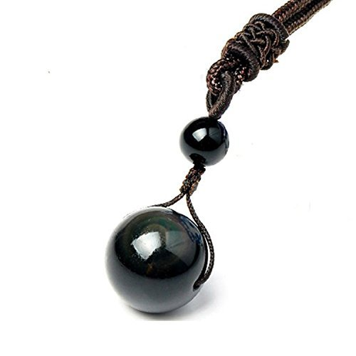 Sinymilk Natural Black Obsidian Pendant 16mm Rainbow Eyes Beads Lucky Blessing Necklace
