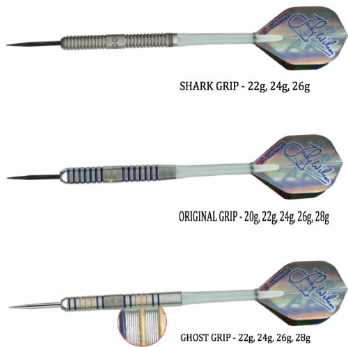 Jocky Wilson 28g Ghost Grip Tungsten Darts Set, Datadart by PerfectDarts