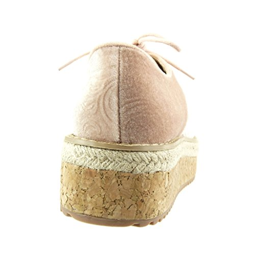 Talon Liège Chaussure Compensé Brodé Femme Plateforme Mode Plateforme Derbies Espadrille cm 5 Fleurs Rose Angkorly gwzASq8z