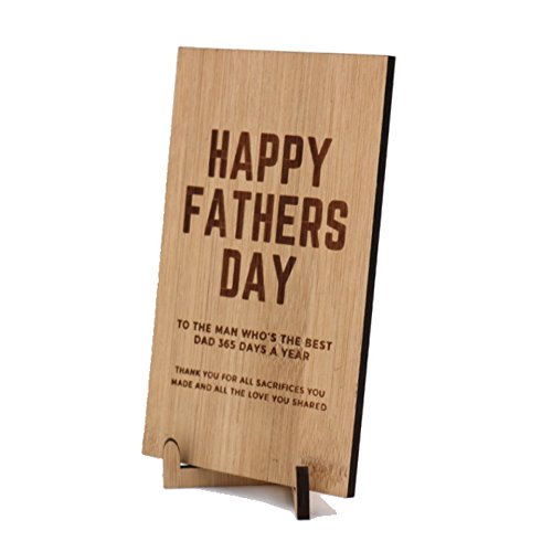 Wooden bamboo Father's day laser cut card with stand Father's day gift– Hand-lettered – perfect birthday card for your father - To the man who's the best dad 365 days a year