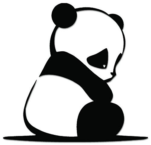 Panda Vinyl (JDM Cute Baby Panda Vinyl Decal Sticker For Vehicle Car Truck Window Bumper Wall Decor - [6 inch/15 cm Wide] - Gloss WHITE Color)