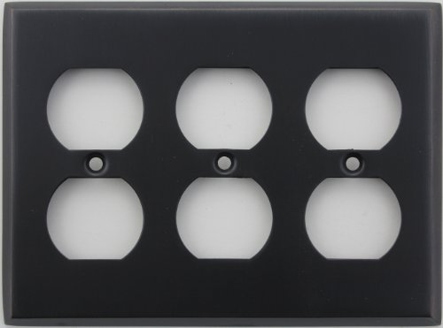Classic Accents Stamped Steel Oil Rubbed Bronze Three Gang Duplex Electrical Outlet Wall Plate Duplex Electrical Accent Wall Plate