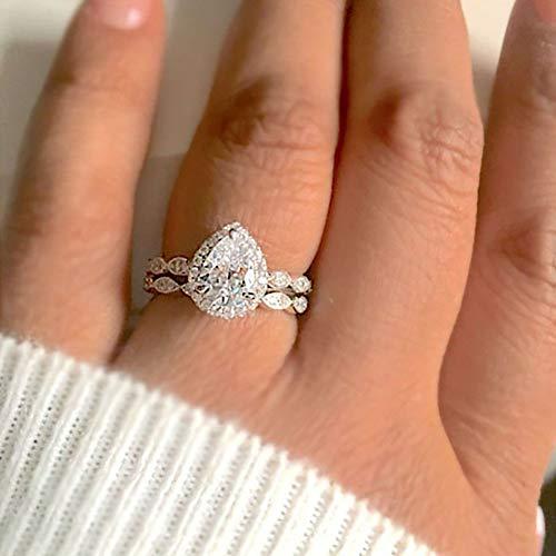 Rings Set, soAR9opeoF 2Pcs Exquisite Drop Pear Ring Set Zircon Birthstone Party Jewelry Bride Band - Platinum US 10 (Platinum Set Wedding Jewelry)