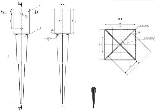 Einschlagbodenh/ülse Bodenh/ülse Einschlagh/ülse Pfostentr/äger 91x750x2,0 PSG Feuerverzinkt