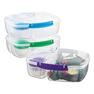 Sistema Triple Split Lunch Box, Clear with Assorted Color Clips (B00NUM7EZ4) | Amazon price tracker / tracking, Amazon price history charts, Amazon price watches, Amazon price drop alerts
