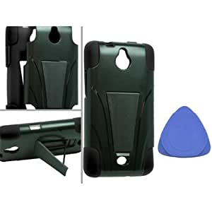 Huawei Ascend Plus H881C Valiant Y301 Hybrid Case with Y Shape Stand Protector Cover - Black + Tool