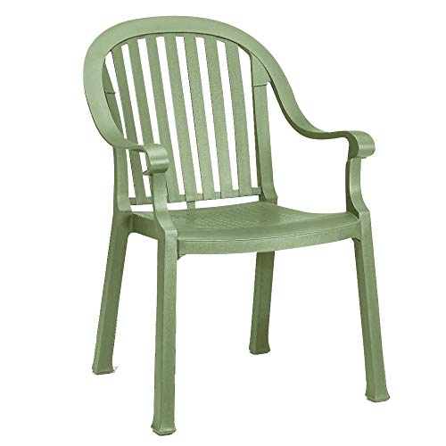 Grosfillex US496721 Colombo Stacking Armchair, Sage Green (Case of 4) by Grosfillex (Image #1)