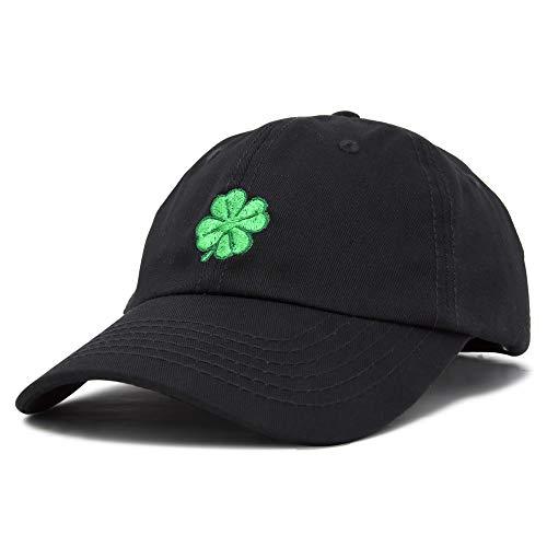 DALIX Four Leaf Clover Hat Baseball Cap St. Patrick's Day Cotton Caps Black