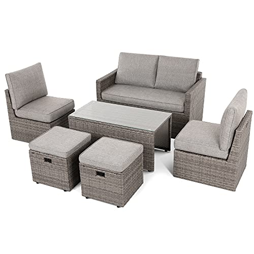 Naice 6 Pieces Patio Furniture Sets, Patio Coversation Sets, Semi-Assembled Outdoor Rattan Wicker Sofa.