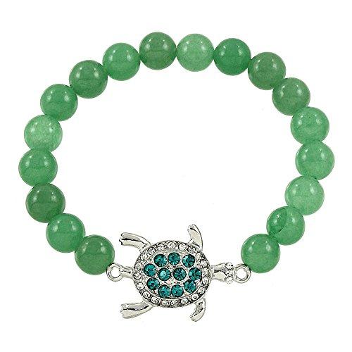 (DianaL Boutique Sea Turtle Elastic Bracelet Genuine Green Aventurine Gemstone Crystal Turtle Charm Gift Boxed Fashion Jewelry for Women Teens Girls)