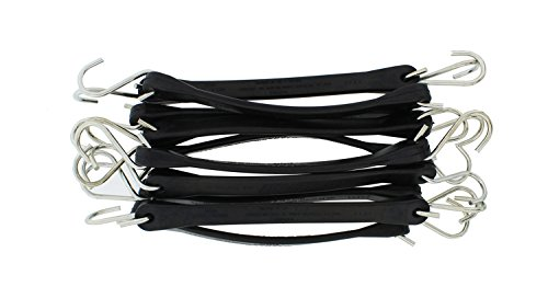 "ABN EPDM Bungee Cords with Hooks 10-Pack, 10"" Inch (18"" Max Stretch) - Heavy-Duty Rubber Tiedown Strap, Tarp Tie Straps"