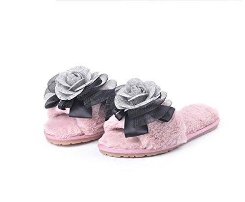 DANDANJIE Zapatillas Mujeres Invierno Inicio Cálido Antideslizante Tendón Sole Plush Zapatillas Inicio Interior Exterior (Rosa Gris Negro) Zapatos caseros Rosado
