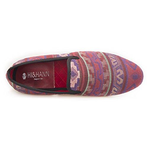 Salut & Hann Multi Couleur Tissage Sergé Tissu Mens Mocassins Classique Quotidienne Appartements Chaussures Pantoufle De Fumer Slip-on