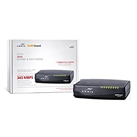 ARRIS Surfboard Docsis 8X4 Cable Modem / Telephone Certified for XFINITY - Download Speed:  343 Mbps (TM822R) 9 Compatible with Xfinity Voice & Internet Service Download speeds up to 343 Mbps. DOCSIS 3.0 Cable Modem. 2 Year Warranty Eight download and four upload channels.