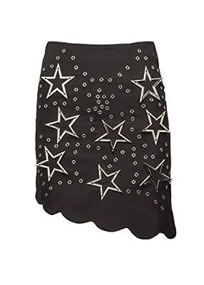 Glam and Gloria Womens Black Star Studded Mini Skirt