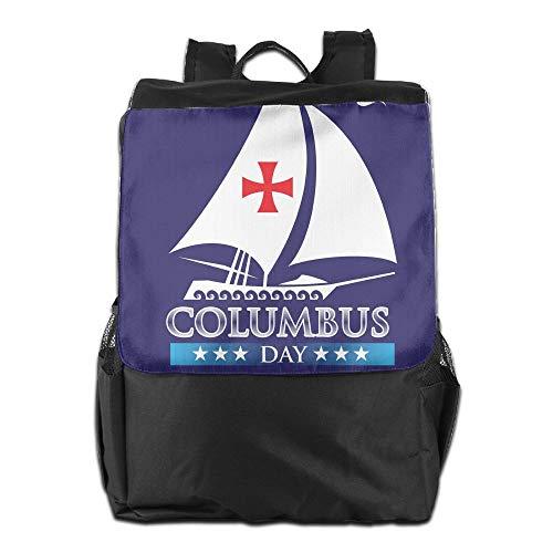 para Correa con Hombro HSVCUY para School Camping diurno y Mujeres para el Almacenamiento Personalizada Aire Day Columbus Mochila Hombres Happy Libre Ajustable Viaje al T7qCFwPT