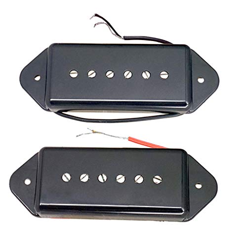 Flameer Single Coil P90 Dog Ear Pickups Neck&Bridge for Gibson LP Electric Guitar - Black, as described