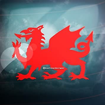 2x welsh dragon cymru carwindowbumper or laptop vag vinyl decal stickers