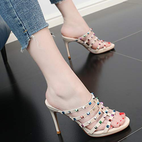 Fashion GTVERNH Slender shoes Sandals Heels High women's Toes Beige Summer Rivets 10Cm Sexy Fashion Wear xTrUXx