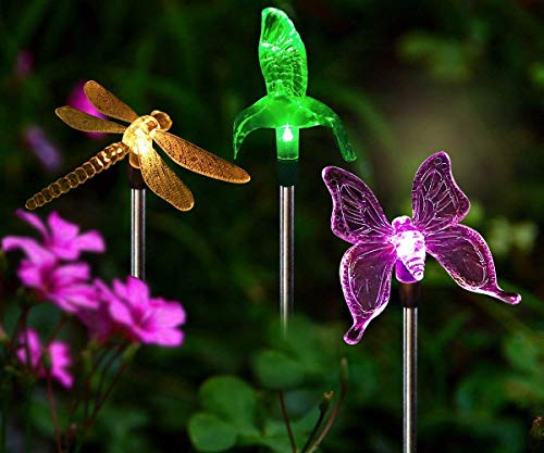 - HORING Solar Stake Lights Outdoor - 3 PCS Multi-Color Changing LED Garden Lights Dragonfly, Butterfly & Hummingbird, Solar Garden Lights Decorative Path, Yard, Lawn, Patio, Garden