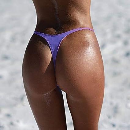 0dce38d83ef Amazon.com   FairOnly S-XL Sexy Tiny Brazilian Bikini Bottom Female  Swimwear Women G-String Briefs Micro Mini Thong Panties Underwear Purple S    Sports   ...