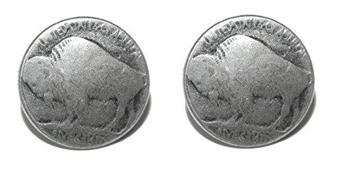 Silver Tone Buffalo Nickel Replica Stud Earrings (S616) ()