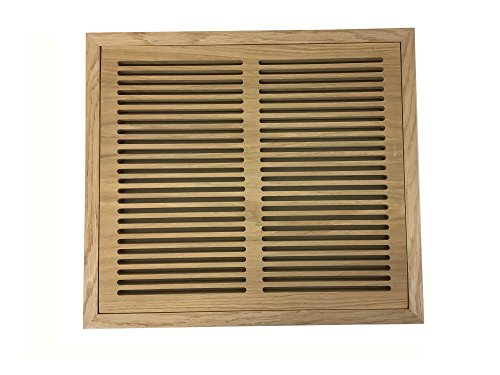 12 Inch x 16 Inch White Oak Hardwood Vent Floor Register Flush Mount with Frame, Slotted Style, (Air Vent Wood Grill)