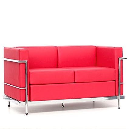 Sofá de Diseño Lecor, 2 plazas, Tapizado en similpiel roja, e¡Estructura