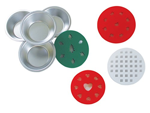 Mini Pie Tins, Small Pie Plates 5 inches set of 4 with Decorative Pie Top Cutters Tree, Apple, Heart shaped, Lattice styles Pie Pans and Pie Cutters by RM EASY HOST