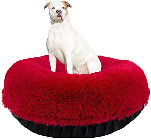 BESSIE AND BARNIE Signature Black Puma Lipstick Luxury Shag Extra Plush Faux Fur Bagel Pet Dog Bed Multiple Sizes