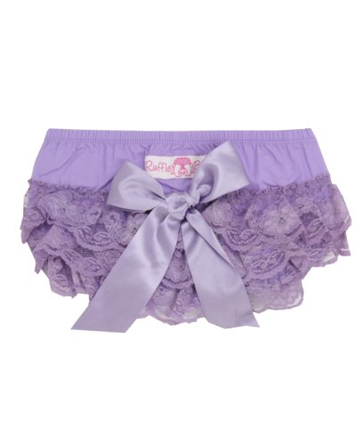 Ruffled Lace Bottom (RuffleButts Infant / Toddler Girls Lace Woven Ruffled Bloomer w/ Bow - Lavender -)