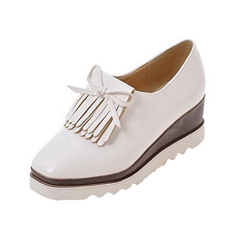 on WeenFashion White Pull Shoes Toe Kitten Women's Fringed PU Square Pumps Heels FwqIFPr
