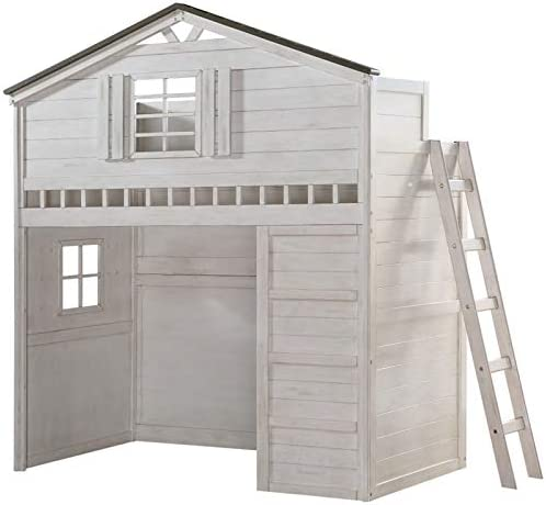 ACME Tree House Loft Bed Twin Size - 37165 - Weathered White Washed Gray