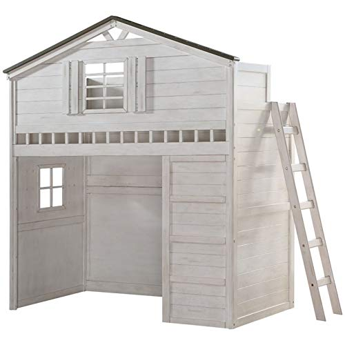 ACME Furniture Tree House Loft Bed, Weathered White and Washed Gray